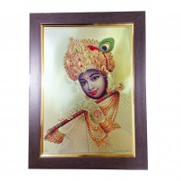 Krishna Gold Foil Photo With Framing