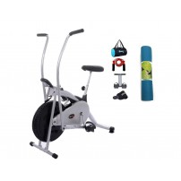 Lifeline Fitness Cycle Air Bike Deluxe for Weight Loss at Home | Bundles with Tummy Trimmer, Gym Bag, Yoga Mat (6 MM) and Accessories