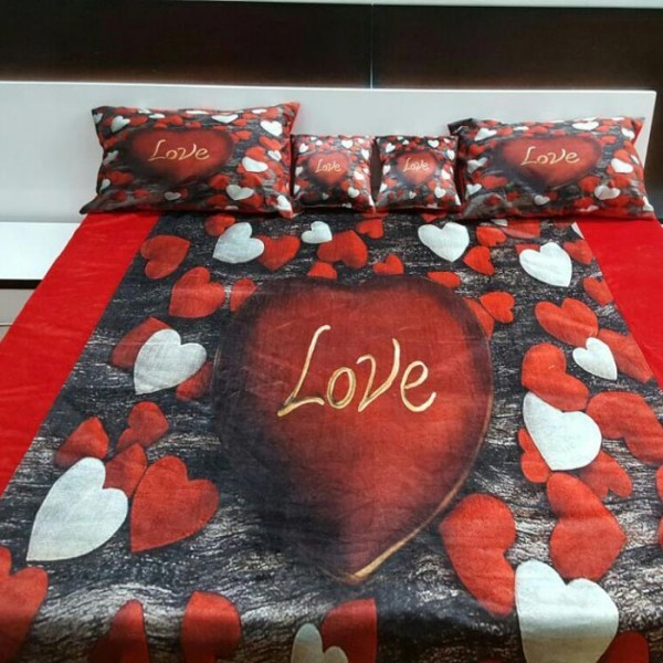 Velvet Fabric Bedsheets With 2 Pillow Covers and 2 filled Cushions