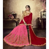 Designer Georgette Saree, With Un-Stitched Blouse, Dyed Georgette Saree