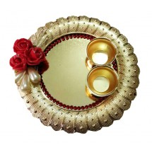 Acrylic Material Gold Plated, Round Design Pooja Plate