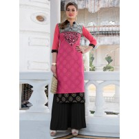 Chanderi Stitched Kurti (Cotton,Chanderi,Raschel Net)