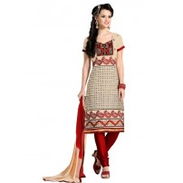 Beautiful Green & Purple Coloured Embroidered  Dress Material