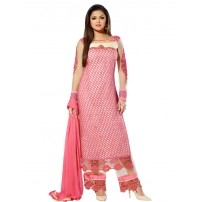Attractive Pink & Off-White Coloured Embroidered Semi-Stitched Salwar Kameez