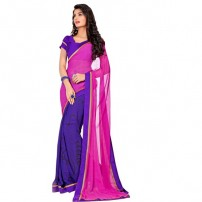 Attractive Purple & Pink Coloured Printed Saree