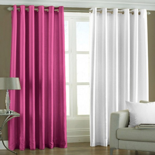 Siya Exclusive Set of 2 Plain Dark Pink + White Long Door Curtain