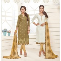 Combo Of Beautiful Embroidered Two Tops With Matching Dupatta & Bottom (Un-Stitched Suit)