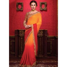 Silky Crepe Saree, With Un-stitched Silk And Net Blouse