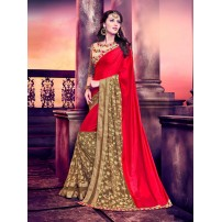 Designer Silk Saree, Lycra Pattern With Glitter Work, Un-stitched Raw Silk Blouse