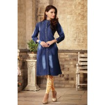 Denim Printed Stitched Kurti, Denim Kurti