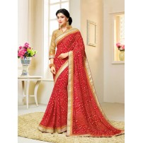Georgette Bandhani Saree, With Un-Stitched Blouse